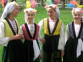 Bulgarians - Girls celebrating Lazaruvane from Gabrа, Sofia Province