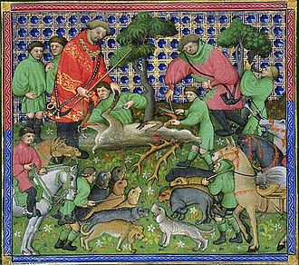 "The Awntyrs off Arthure - Early 15th century deer hunt, from a French manuscript. The poem opens with a deer hunt in ""the depe delles"" of Inglewood Forest."