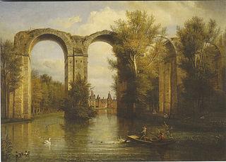 Le château de Maintenon vu à travers l'aqueduc