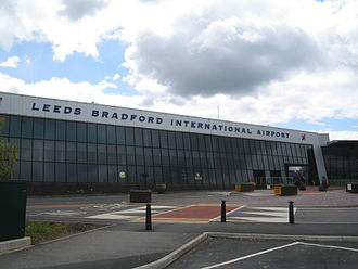 Leeds Bradford Airport is the busiest in the region. Leeds Bradford International Airport terminal, left.jpg