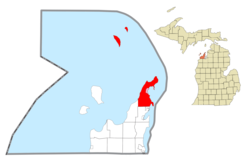 Location within Leelanau County (red) and the administered village of Northport (pink)