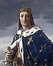 Portrait of clean-shaven Louis in crown and purple royal robe with fleur-de-lis