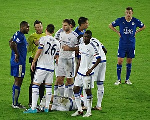 Marc Albrighton - Albrighton (top right) playing for Leicester City in a league match against Chelsea at the King Power Stadium in December 2015