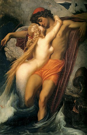 Mermaid - The Fisherman and the Syren, by Frederic Leighton, c. 1856–1858