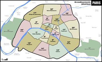 Distritos De París Wikiwand - Paris mapa