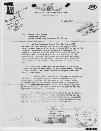 General Thomas Handy's order to General Carl Spaatz ordering the dropping of the atomic bombs Letter received from General Thomas Handy to General Carl Spaatz authorizing the dropping of the first atomic bomb - NARA - 542193.tif