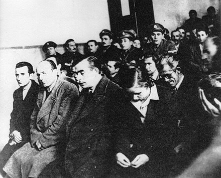 Military trial of communists during the war. In many cases the punishment was the death penalty. Levica na sud vo Grcija.jpg