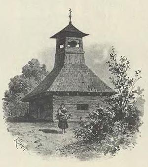 Lichkov - Belfry in Lichkov in 1880s (by Karel Liebscher)