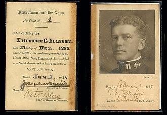 Theodore G. Ellyson - Ellyson's Navy Air Pilot No. 1 license