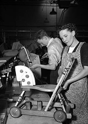 Lines Bros - Hobby horse walkers being made in Merthyr Tydfil in 1951