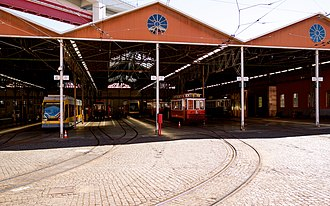Carris Museum - A view of the station depot housing modern and older trams