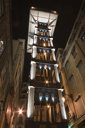 Santa Justa Lift - An image of the Santa Justa Lift in the evening