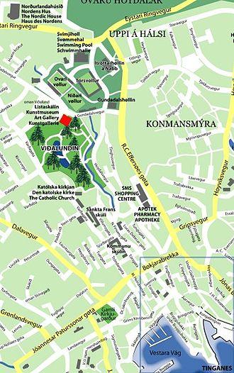 Listasavn Føroya - City map detail of Tórshavn, the museum is marked red.