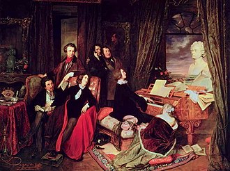 "Life of Franz Liszt - Franz Liszt Fantasizing at the Piano (1840), by Danhauser, commissioned by Conrad Graf. The imagined gathering shows seated Alfred de Musset or Alexandre Dumas, George Sand, Franz Liszt, Marie d'Agoult; standing Victor Hugo or Hector Berlioz, Niccolò Paganini, Gioachino Rossini; a bust of Beethoven on the grand piano (a ""Graf""), a portrait of Byron on the wall, a statue of Joan of Arc on the far left."