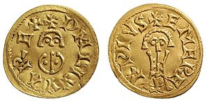Liuva II - Tremissis from Mérida, minted during his reign.