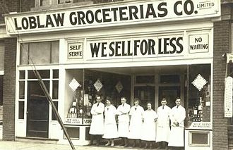 Loblaw Companies - Loblaw Groceterias Co. Limited store, College St. and Palmerston Blvd., Toronto, postcard, ca. 1923