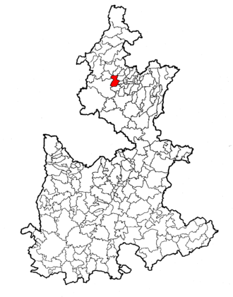 Ahuacatlán Municipality, Puebla - Location of Ahuacatlán in Puebla
