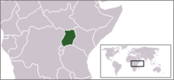 A map showing the location of Uganda