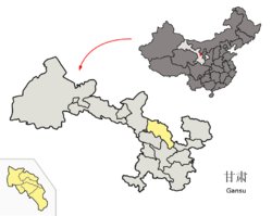 Location o Baiyin Prefectur within Gansu