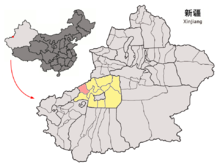 Location of Uqturpan within Xinjiang (China).png