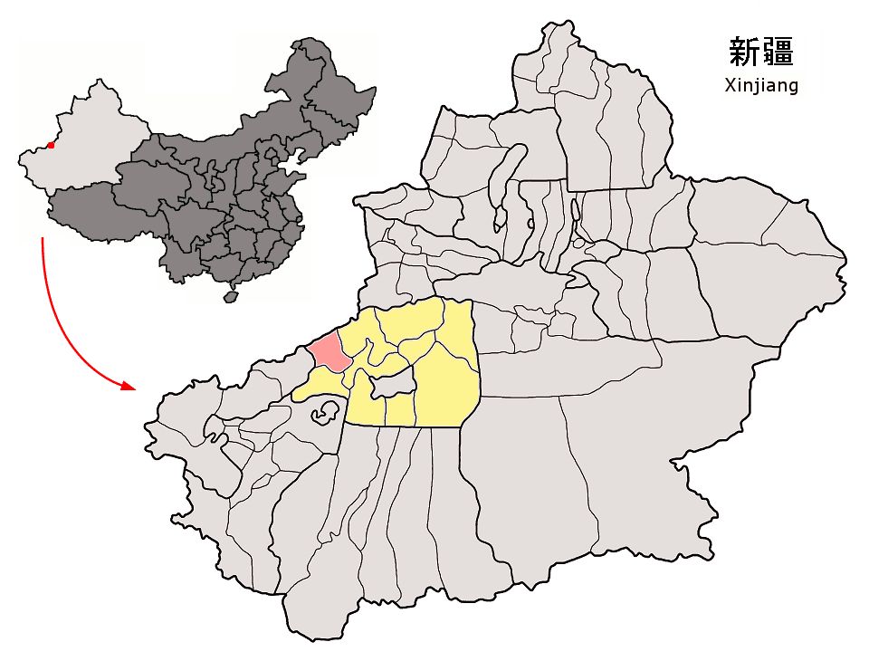 Location of Uqturpan County (red) within Aksu Prefecture (yellow) and Xinjiang