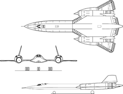 Orthographically projected diagram of the SR-71A Blackbird.