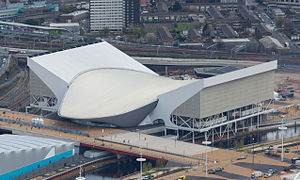 Das Aquatics Centre im April 2012