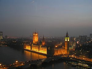 London by night (including view of the Palace of Westminster)