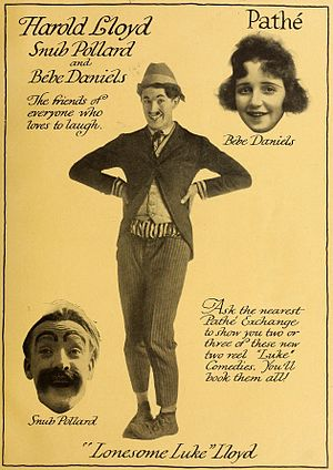 "Harold Lloyd - 1917 advertisement featuring Lloyd as ""Lonesome Luke"", with Snub Pollard and Bebe Daniels"