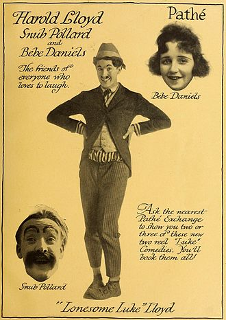 "Harold Lloyd - 1917 advertisement featuring Lloyd as ""Lonesome Luke"", with Snub Pollard and Bebe Daniels"