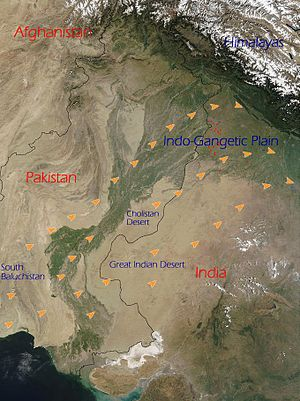 Loo (wind) - The path of the Loo (orange arrows) from its origins in the deserts of the Indian subcontinent towards and through the Indo-Gangetic Plain of India and Pakistan