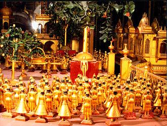Rishabhanatha - Statuary representing meditation by Rishabhanatha in Kayotsarga posture. (Photo:Ajmer Jain temple)