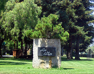 Los Altos, California - A City of Los Altos entrance marker, located in Lincoln Park just off of Main Street