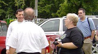 Daniel Mongiardo - Lt. Gov. Mongiardo greets media while campaigning for Democratic candidates in September 2008.