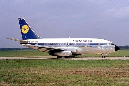A Boeing 737, the best-selling commercial jet aircraft in aviation history Lufthansa 737-130 D-ABED.jpg