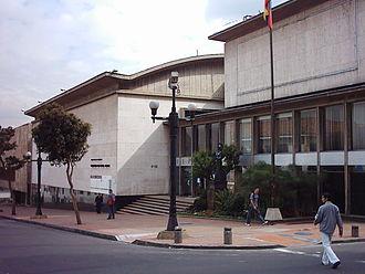 La Candelaria - The Luís Ángel Arango Library facade and part of 11th street at La Candelaria neighborhood.