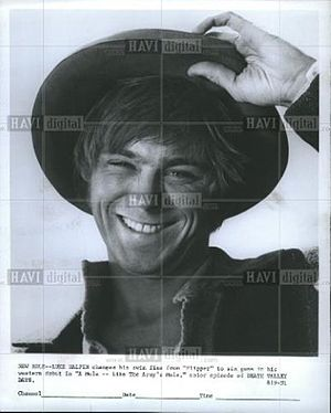 Luke Halpin - Young actor Luke Halpin tips his hat in this publicity still for the television series Death Valley Days, 5 Oct 1968.