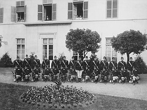 Luxembourg Army - Soldiers of the Corps des Gendarmes et Volontaires pose for a photograph, 1910.