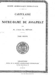 Charles Métais: Cartulaire de Notre-Dame de Josaphat