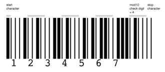 MSI Barcode - MSI barcode for the number 1234567 with Mod 10 check digit