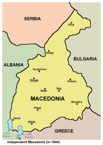 Independent Macedonia (1944) - Map of the territory of Independent Macedonia.