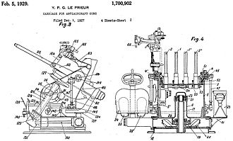 Hotchkiss M1929 machine gun - The quadruple naval mounting, as illustrated in US Patent 1700902 filed by Yves Le Prieur