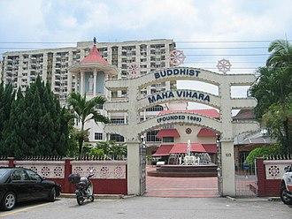 Buddhism in Malaysia - The Maha Vihara Buddhist Temple in Brickfields, Kuala Lumpur.