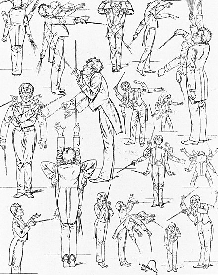 Mahler's conducting style, 1901, caricatured in the humor magazine Fliegende Blatter Mahler conducting caricature.jpg