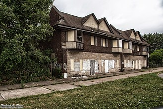 Marktown - Retail on the bottom, apartments on top. Abandoned since the 1980s.