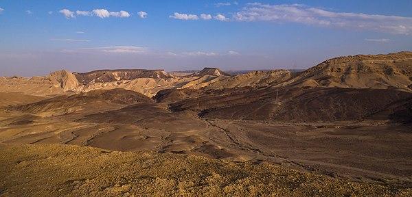 Makhtesh Ramon viewed from the top of Mount Gvanim