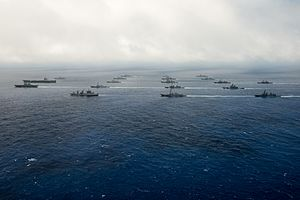 Malabar 2016 participants from the Indian Navy, Japanese Maritime Self-Defense Force (JMSDF), and U.S. Navy sail in formation.jpg