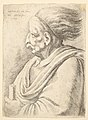 Man with caricatured features and hair streaming behind, in half-length to left MET DP823714.jpg