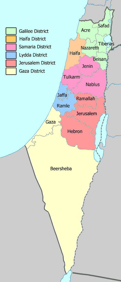 Mandatory Palestine 1945 subdistricts and districts