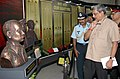 Manohar Parrikar going through the Martyrs Gallery at the Special Exhibition on 1965 Indo-Pak War, at India Gate, in New Delhi on September 15, 2015. The Chief of the Air Staff, Air Chief Marshal Arup Raha is also seen.jpg